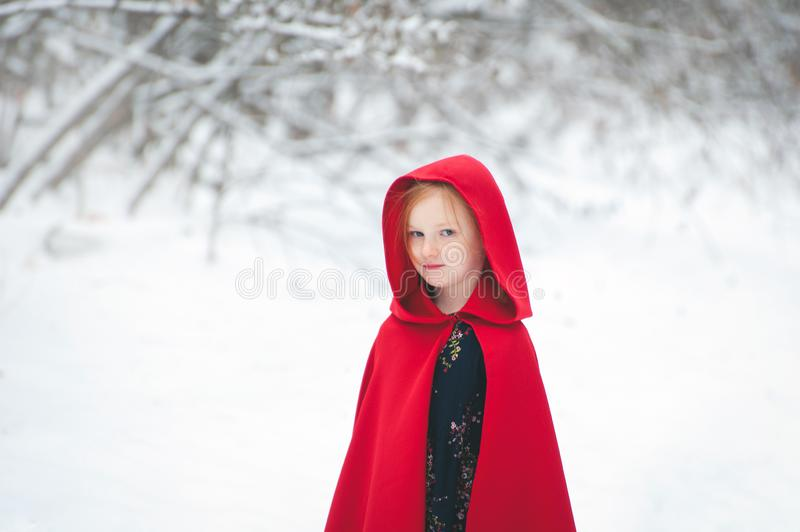 Girl in a cloak with a hood royalty free stock photo