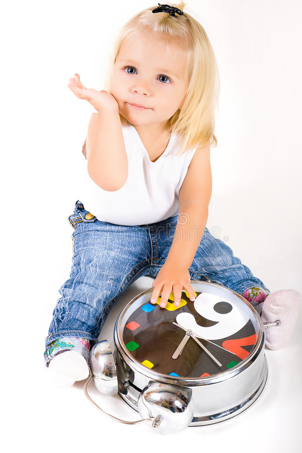 Girl with clock stock images