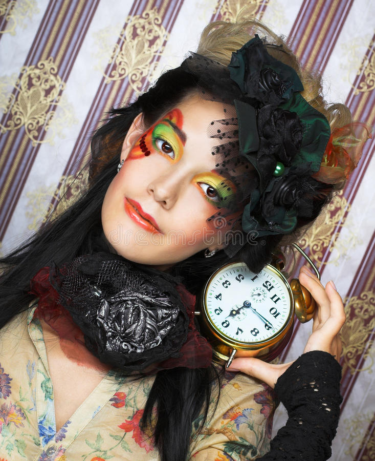 Download Girl With Clock. Stock Photo - Image: 40371886