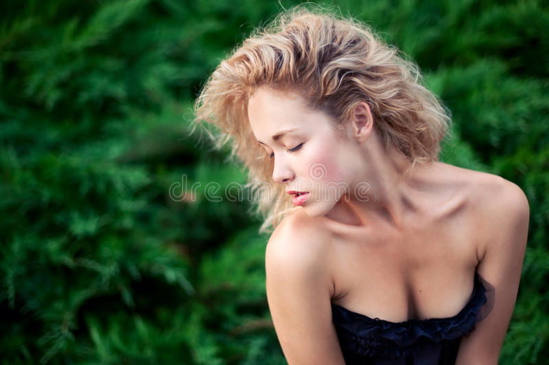 Download Girl closed eyes stock photo. Image of attractive, bush - 24813332
