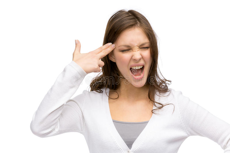 Download Girl With Closed Eyes Hand Gun Gesturing Stock Image - Image: 38843831