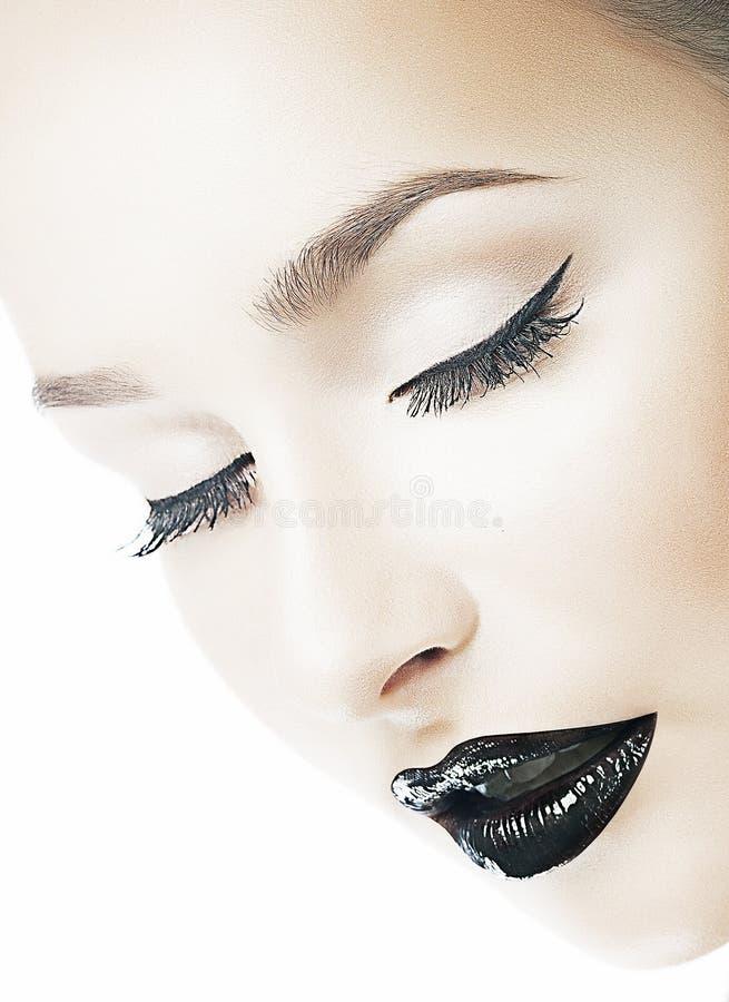 Dreaminess. Femininity. Dreamy Woman s Face with Closed Eyes. Shiny Black Lipls