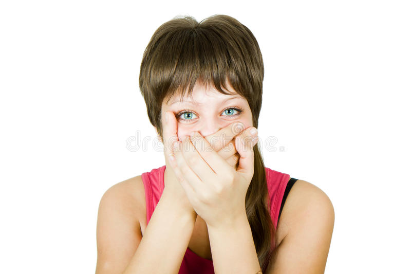Download Girl Closes Her Mouth With Her Hands Royalty Free Stock Photos - Image: 16678298