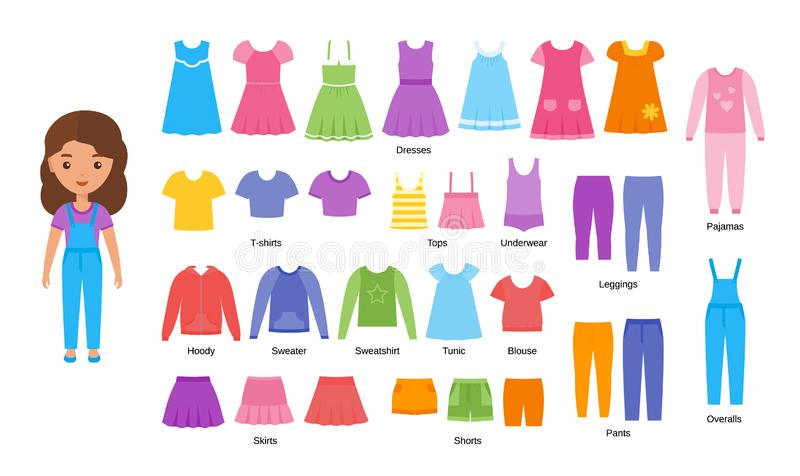 Girl clothes. Vector illustration. Baby clothing set in flat design. vector illustration