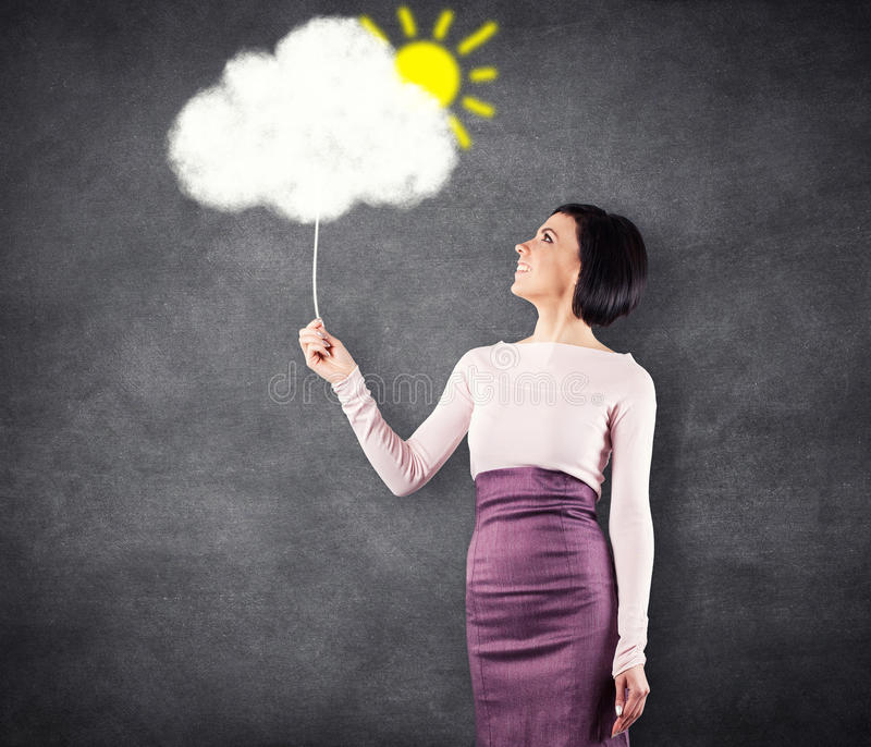 Girl with cloud royalty free stock photos