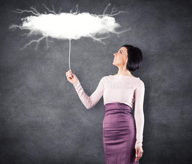 Girl with cloud stock images