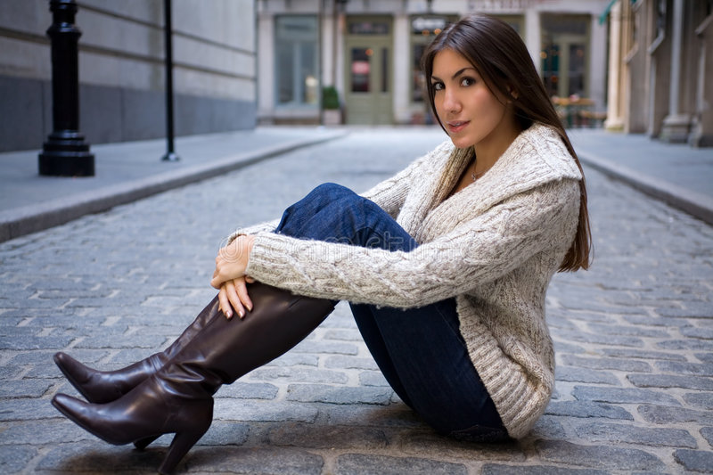 Download Girl on Cobblestone Street stock image. Image of outside - 3470209