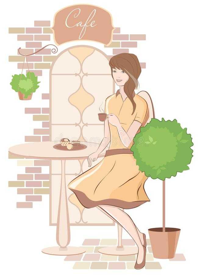 Girl with coffee at cafe stock illustration