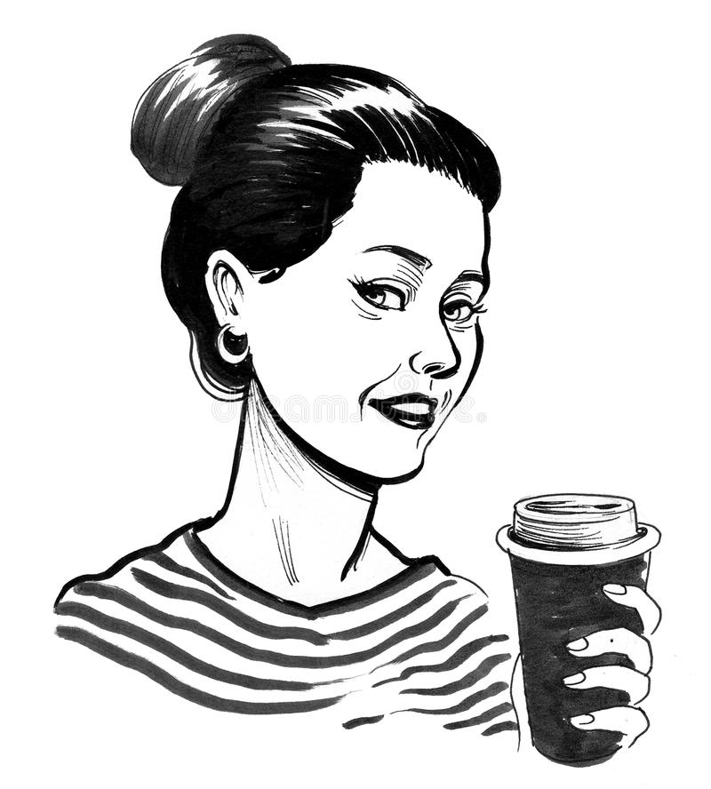Girl with a coffee cup stock illustration