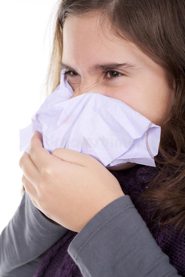Download Girl With A Cold Blowing Nose Stock Photo - Image: 17203932