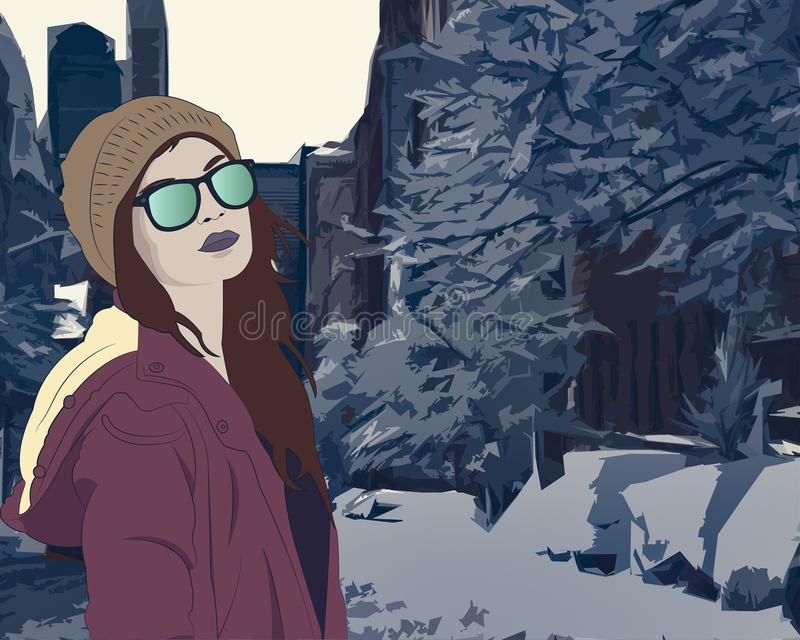 Snow in the city royalty free illustration