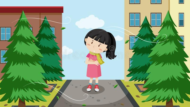 A girl and cold wind. Illustration royalty free illustration