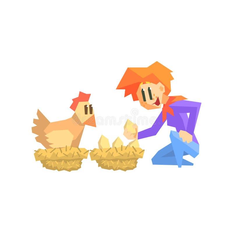 Girl Collecting Chicken Eggs vector illustration