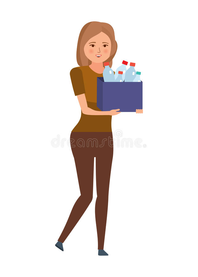 Girl collects and carries plastic bottles, for further processing. Young girl, collecting plastic bottles and cleaning garbage, for further recycling vector illustration