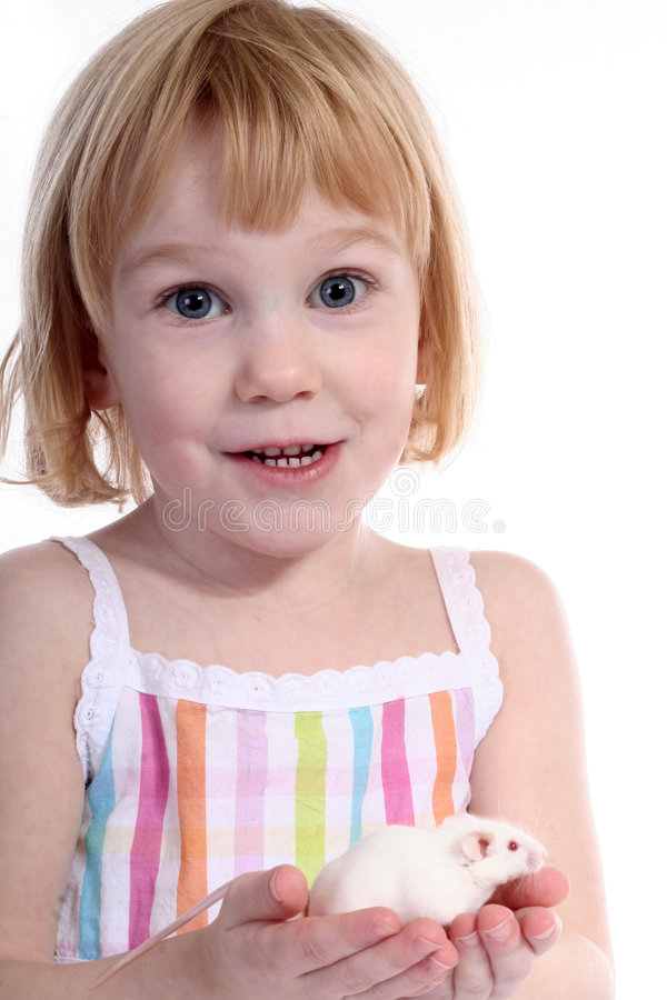 Girl in colorful dress with mouse royalty free stock image