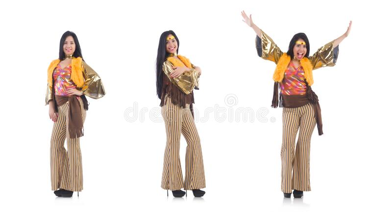 Girl in colourful latino dress isolated on white stock photo