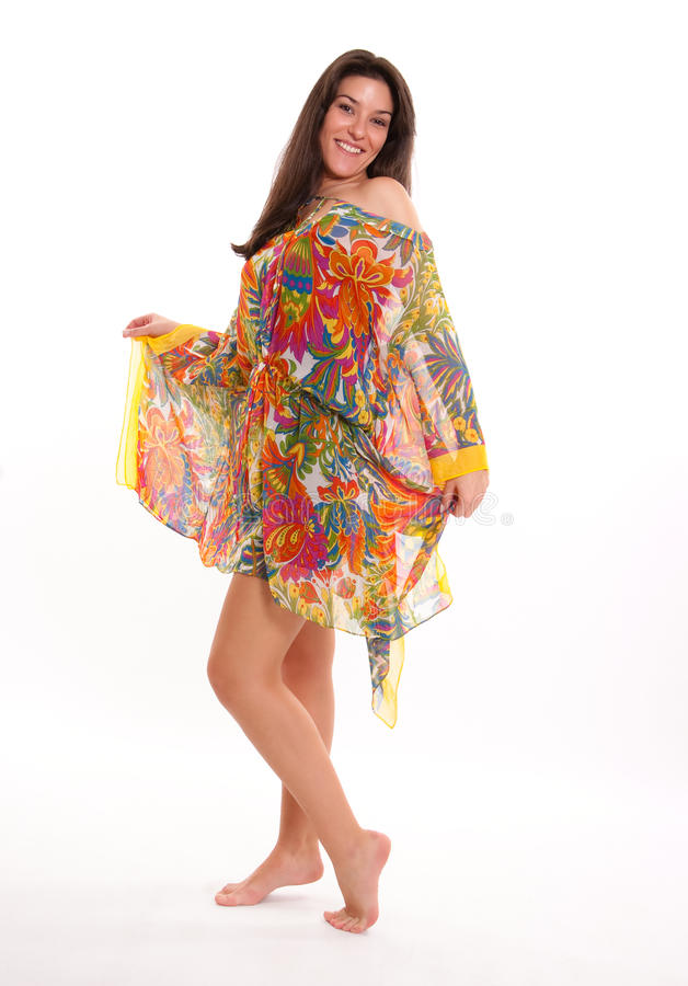 Download Girl in a colourful tunic stock photo. Image of happy - 26823520
