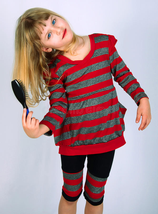 Girl, comb, white, isolation stock photo
