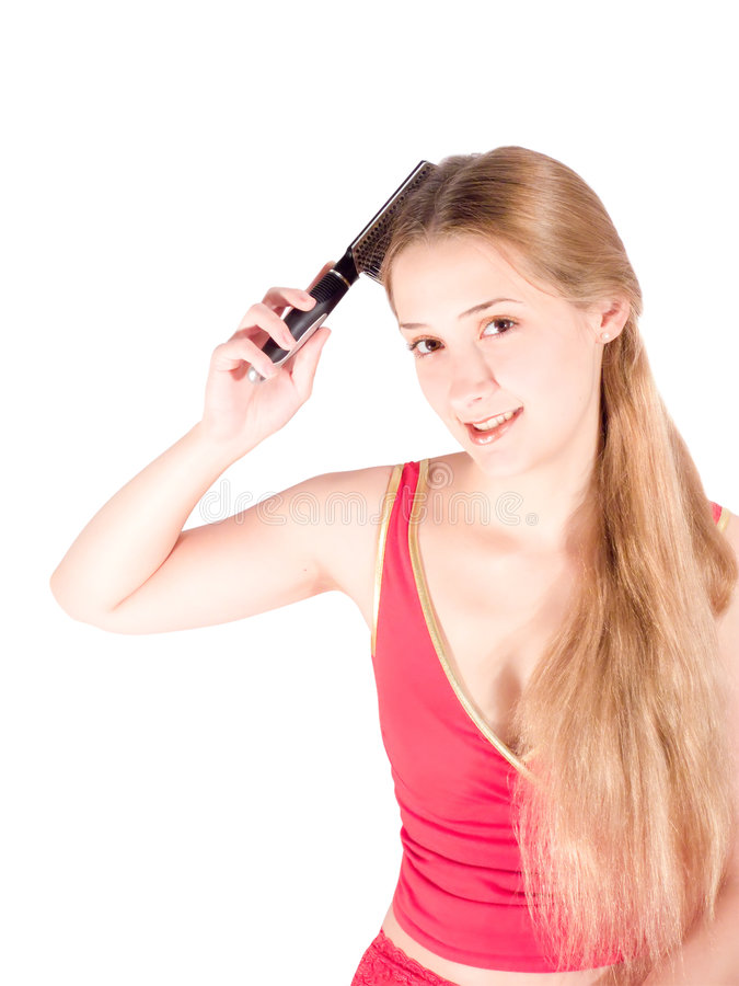 Download Girl combing her long hair stock image. Image of attractive - 7238439