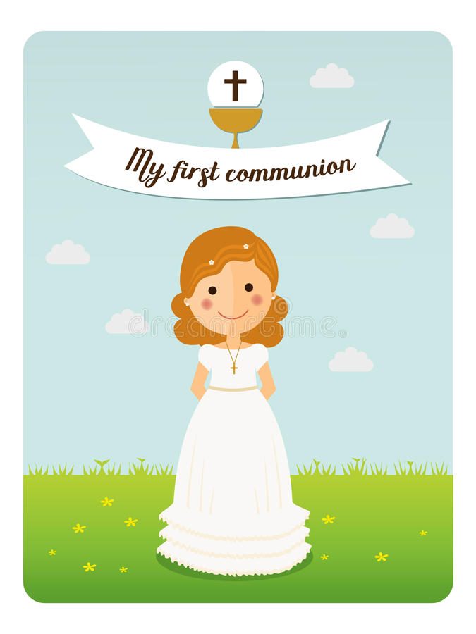 Girl communion with curly hair. My first communion reminder with curly hair girl and blue sky background royalty free illustration