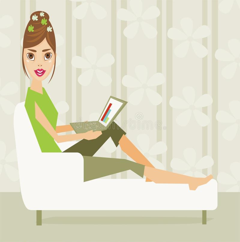 Download Girl with computer stock vector. Illustration of reading - 11454899