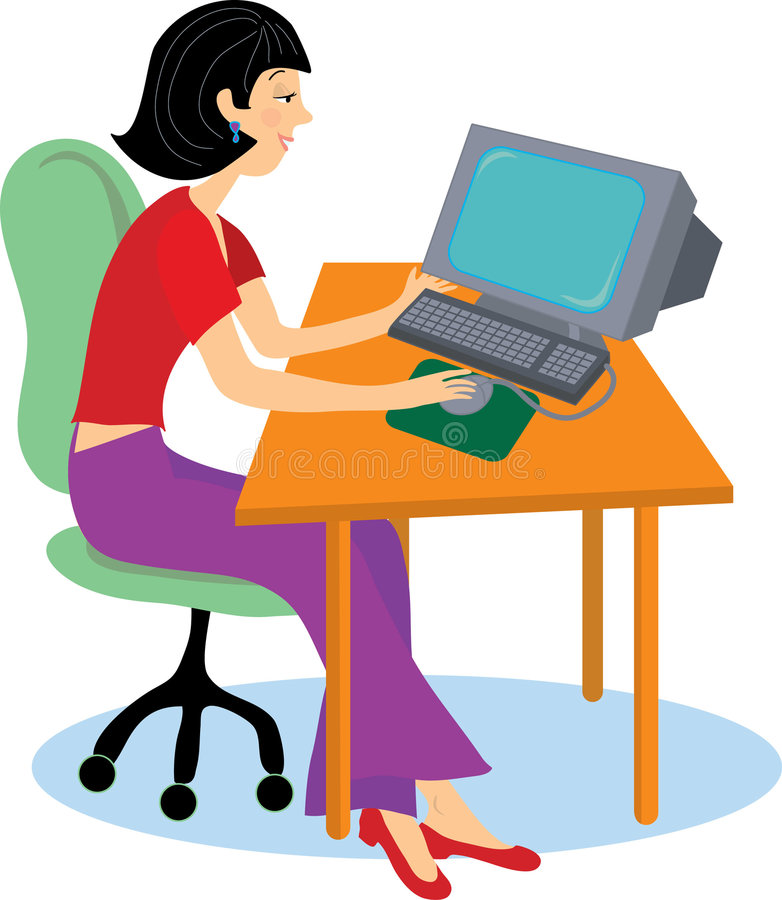 Girl at computer. Young woman sitting at a computer desk working vector illustration