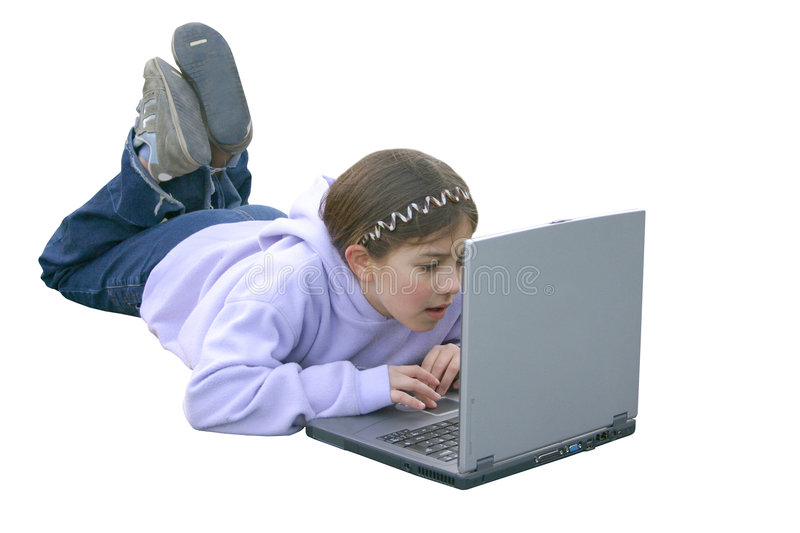 Download Girl on Computer 3 stock photo. Image of happiness, screen - 79598