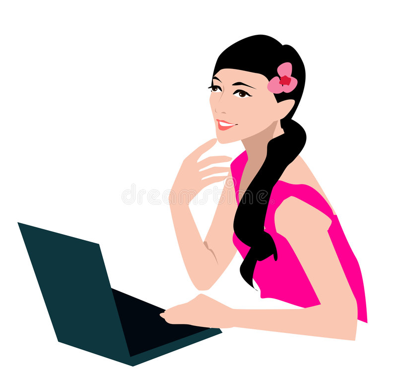 Girl and computer vector illustration