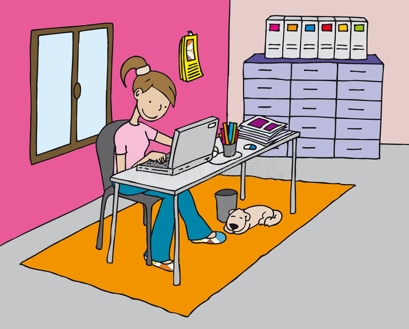 Girl at the computer vector illustration