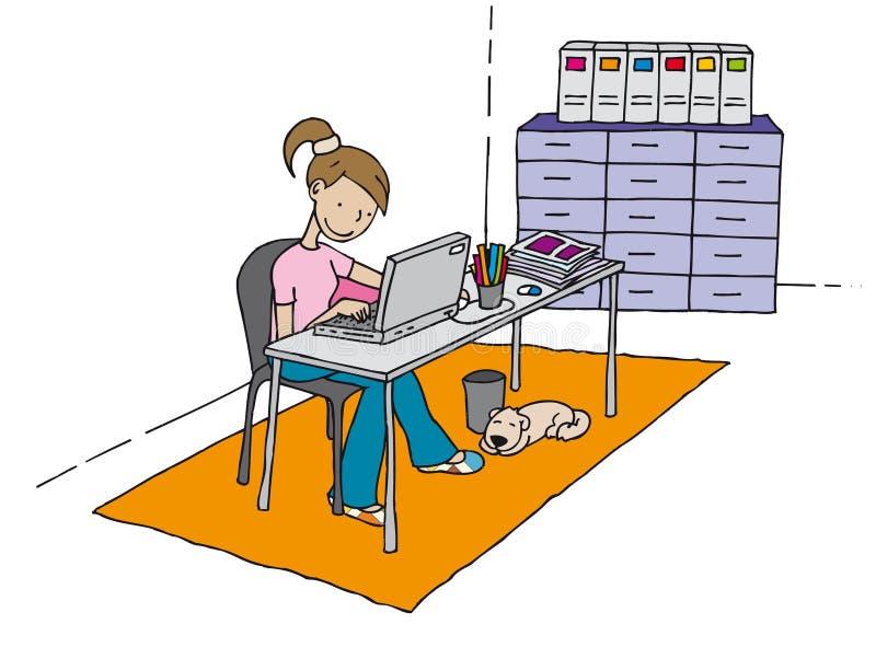 Girl at the computer royalty free illustration