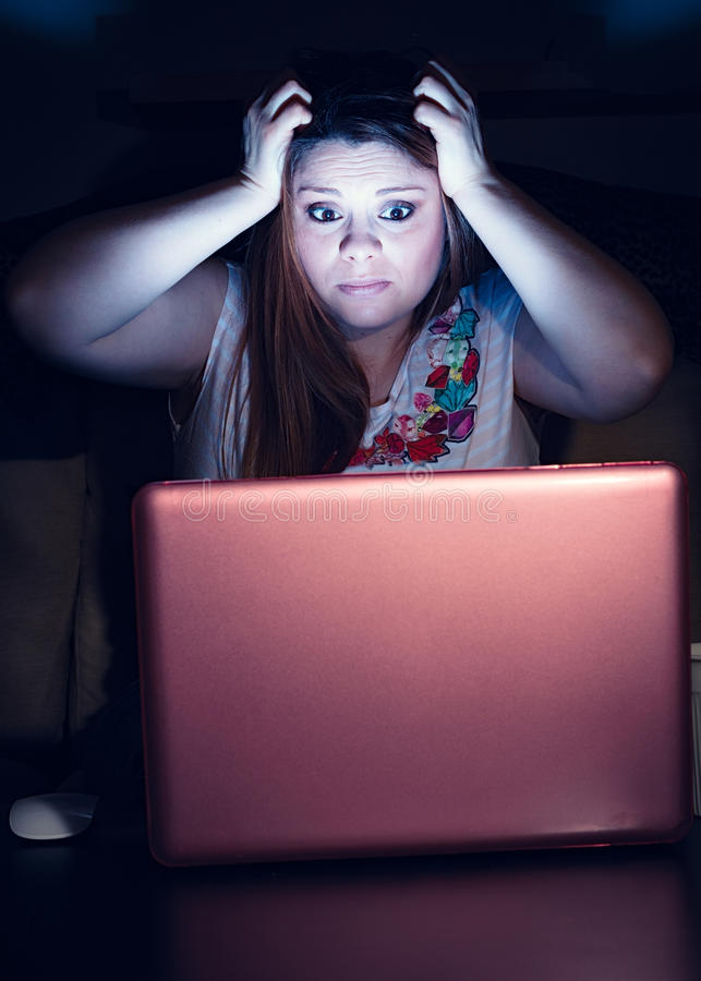 Girl at computer stock images