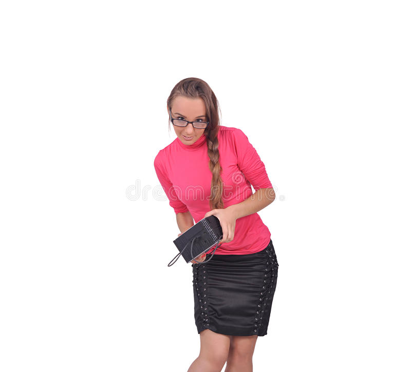 Girl With Computer Technique In Her Hands Stock Image