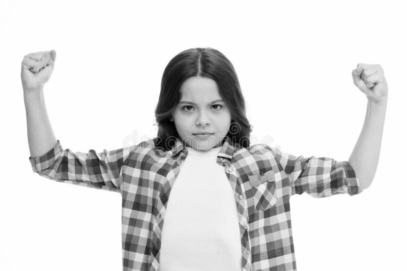 Girl concentrated serious face feels powerful isolated white. Girls power concept. Let her feel strength. Feministic royalty free stock photos