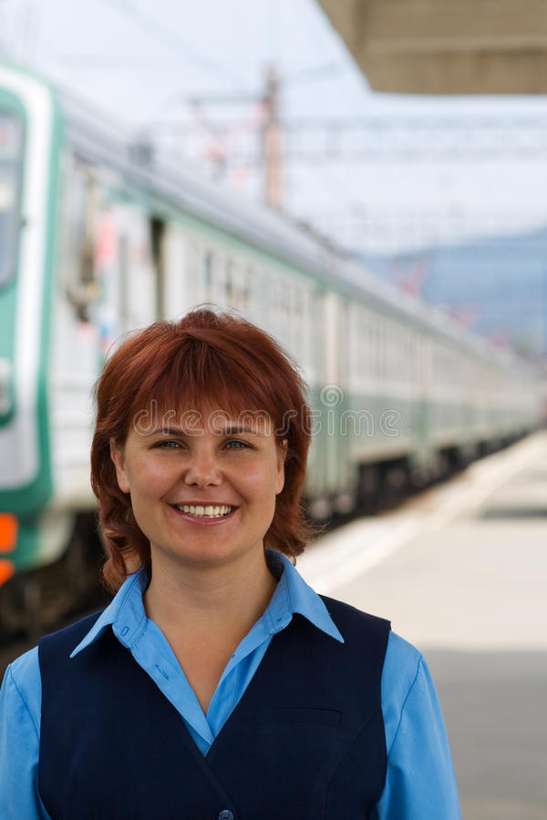 Download Girl-conductor smiles stock photo. Image of profession - 13072612