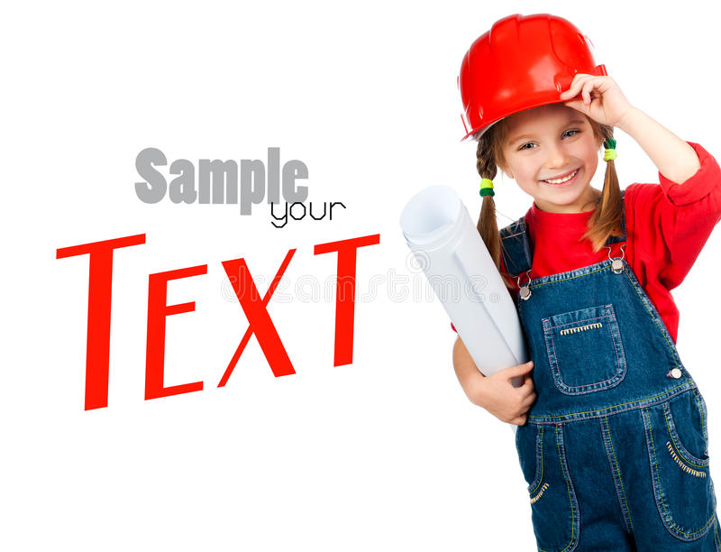 Girl in the construction helmet with poster. Little girl in the construction helmet with a poster stock image