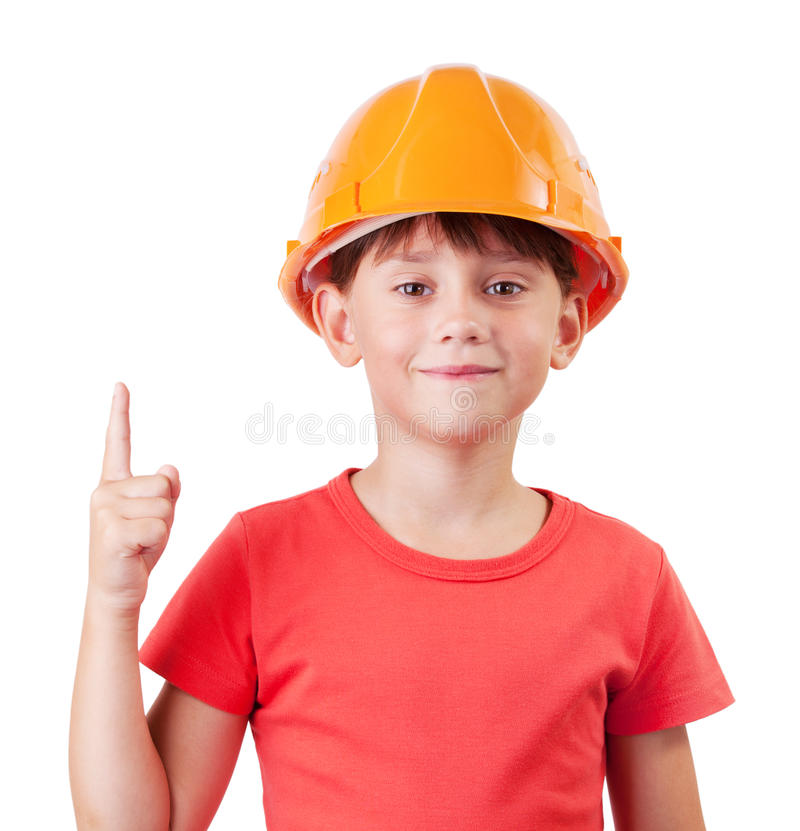 Girl in the construction helmet. With a raised finger stock photo
