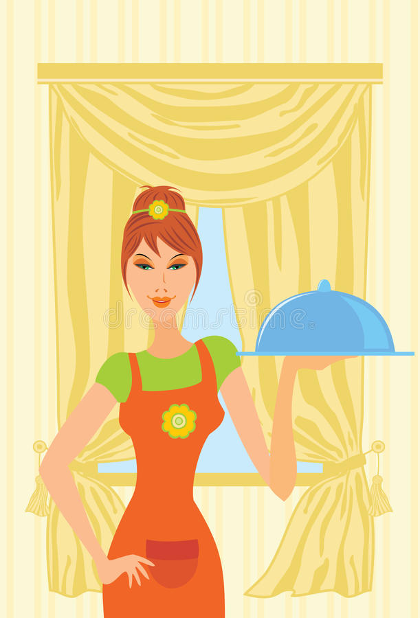 Download Girl-cook stock vector. Illustration of cute, boomer - 13091754