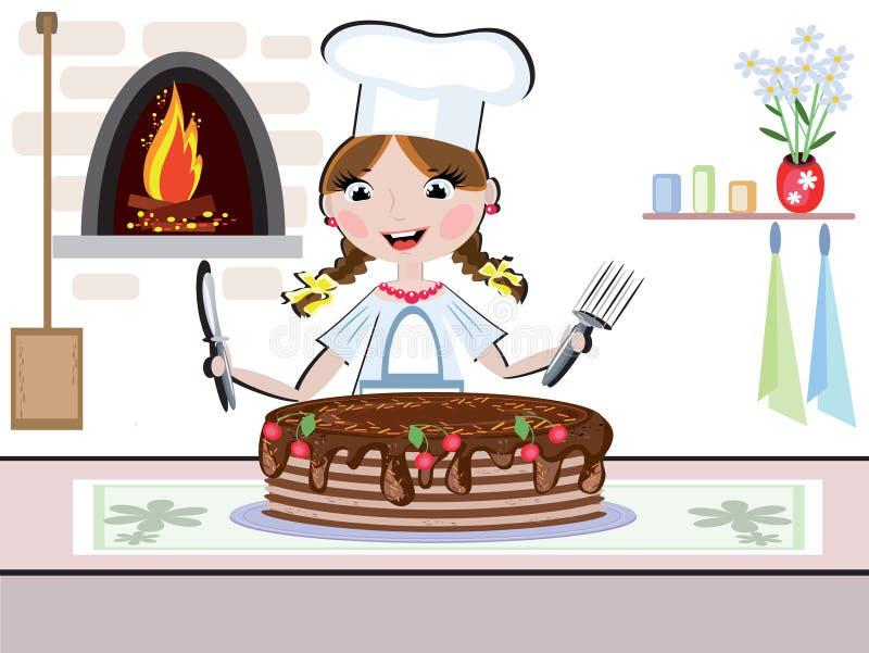 Girl cook royalty free illustration
