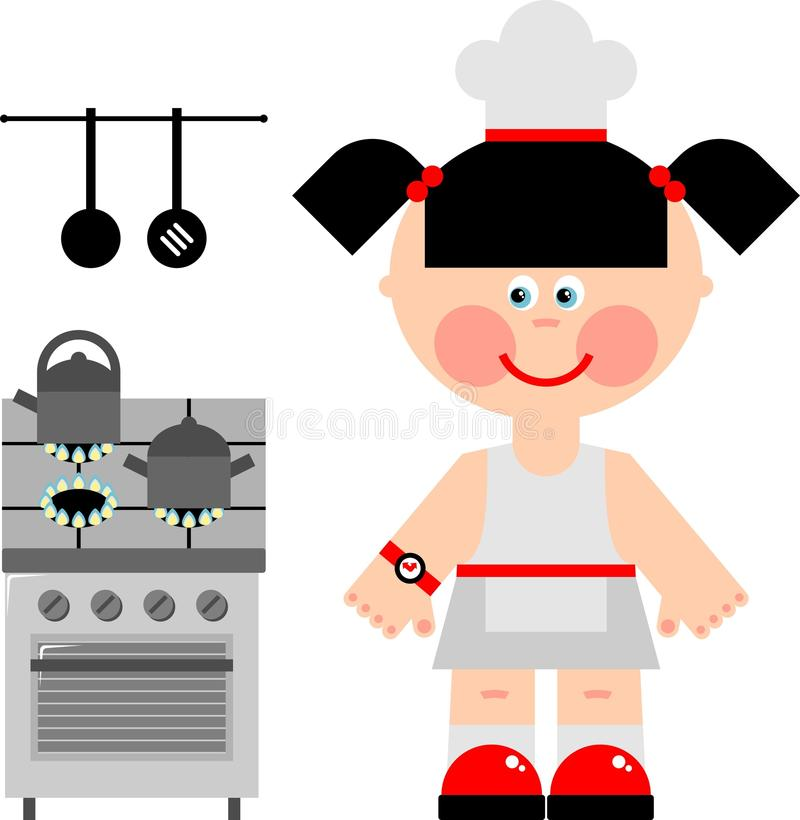 Download Girl cook stock vector. Image of profession, cooker, cook - 21522684