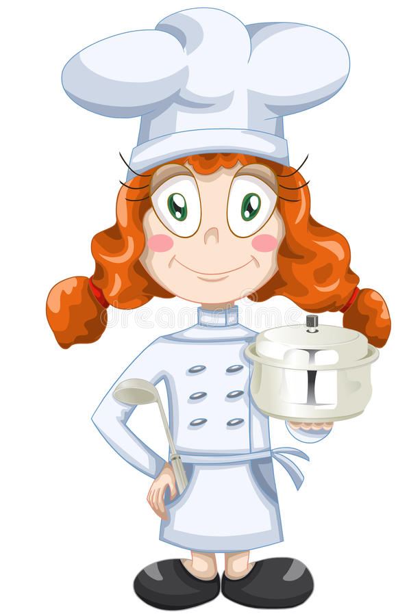 Download Girl Cook Character Cartoon Style  Illustration White Stock Illustration - Image: 30582165