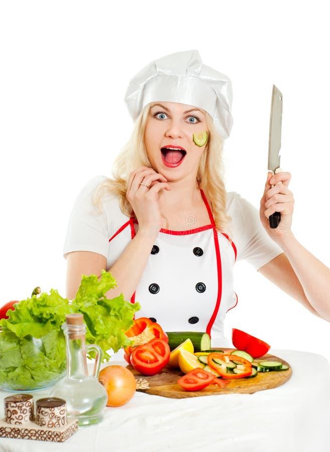 Girl Cook Emotional Royalty Free Stock Image