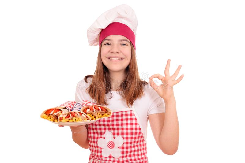 Girl cook with gyros fast food on plateand ok hand sign stock images