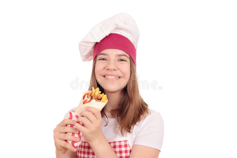 Girl cook with gyros pita royalty free stock photos
