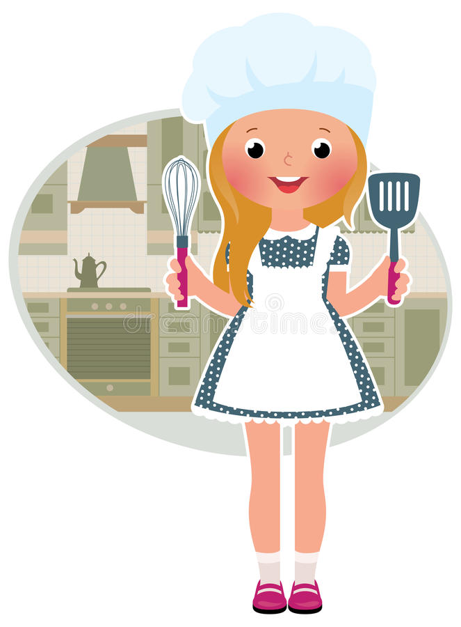 Girl cook in the kitchen stock illustration