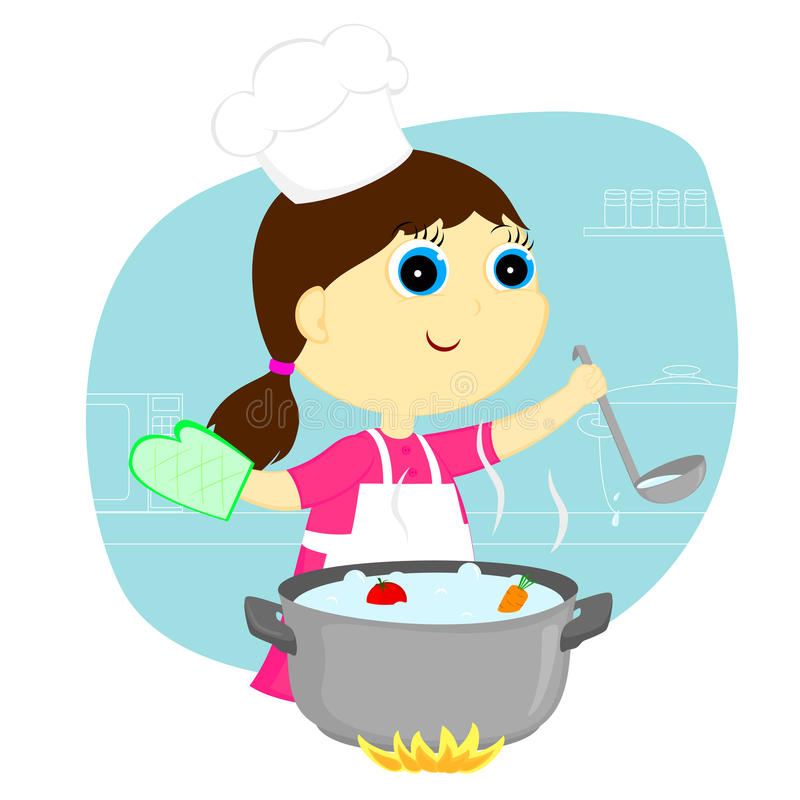Girl cook royalty free illustration
