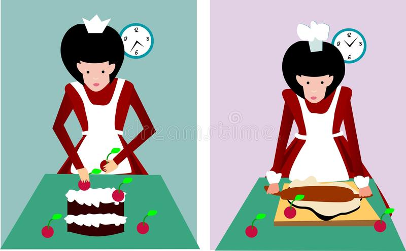 Girl is cooking royalty free stock image