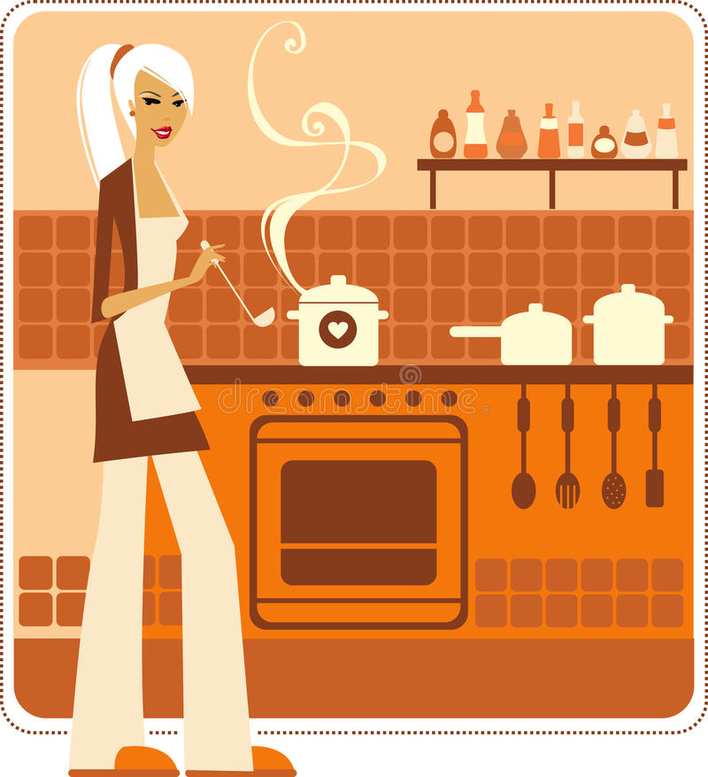 Download Girl cooking stock vector. Image of beautiful, beauty - 12099793