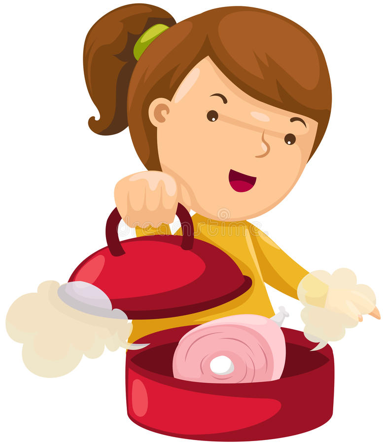 Girl cooking stock illustration
