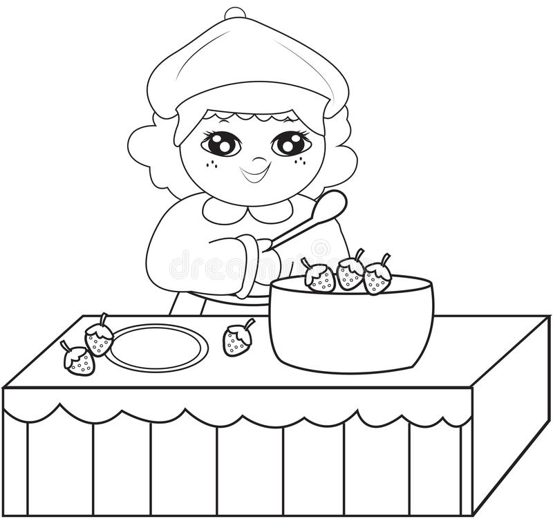 - Girl Cooking Coloring Page Stock Illustration. Illustration Of Book -  52718607
