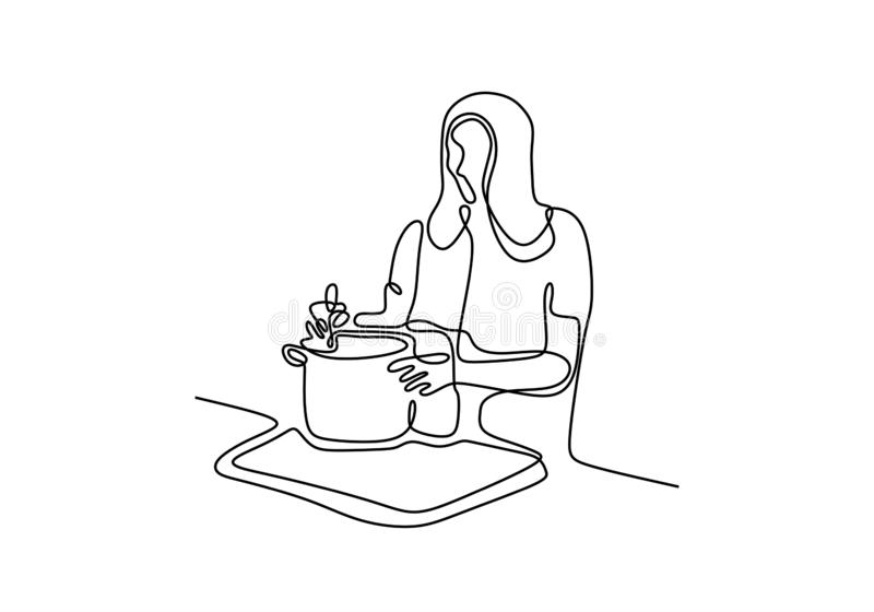 Girl cooking food continuous one line drawing vector illustration. Woman enjoy making foods royalty free illustration